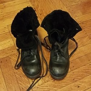 Ash shearling lace up combat boots
